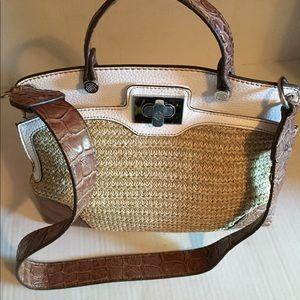 Dana Buchanan Straw & Croc Embossed Shoulder Bag